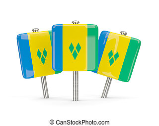 Flag of saint vincent and the grenadines, three square pins...