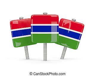 Flag of gambia, three square pins 3D illustration