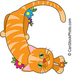 Alphabet Animal C - A cat lying down and looking up, shaped...