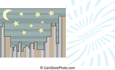 Cityscape abstract at night with st - Vector illustration...