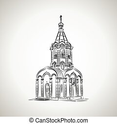 Sketch of the Christian chapel on a light background. Vector...