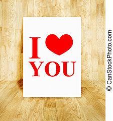 概念, 愛, 海報, 房間, 情人節, 木頭, 席紡地面, 詞, 白色, 你