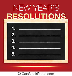 New year s Resolutions : Goals List on Blackboard with red...