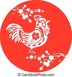 Chinesenew year 2017. Circle cherry blossom and rooster