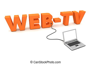 Laptop Wired to Orange WebTV - a laptop is connected to the...