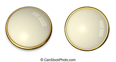 3D Button Gold and Pale Yellow - 3D button template in solid...
