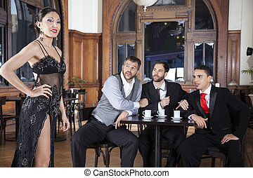 Pervert Men Looking At Tango Dancer In Restaurant - Pervert...