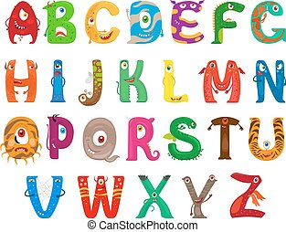 Monster funny alphabet - Monster alphabet. Vector funny...