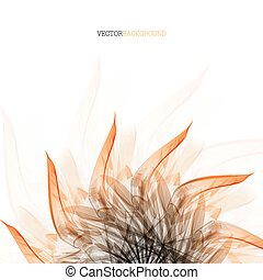 Floral abstract vector background with  orange leaves