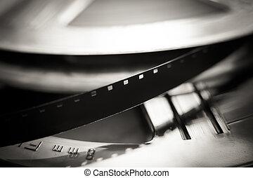 Super 8 mm film reel macro close up, movie symbol - Movie...