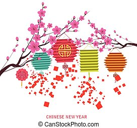 Happy chinese new year with lantern