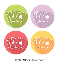 Casino Playing Cards Deck Flat Icons Set