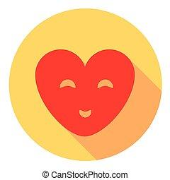 Coração, sorrindo, apartamento, ícone