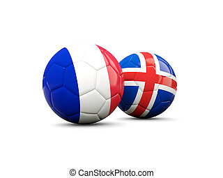 France and Iceland soccer balls isolated on white