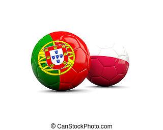 portugal, y, Polonia, futbol, pelotas, aislado, en, blanco,