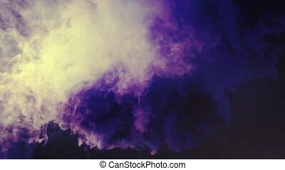 Colored Smoke Curves Isolated on Black Background - 4K Blue...