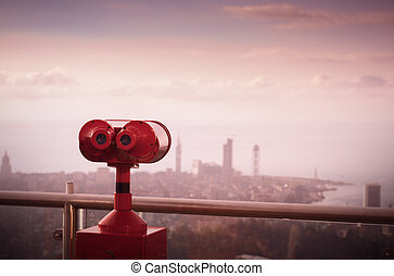 binoculars to view cityscapes, views from the observation...