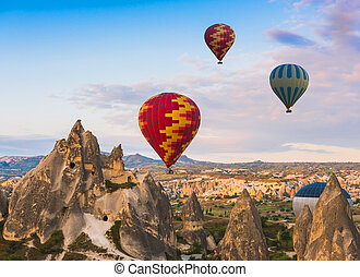 Hot air balloon flying over Cappadocia, Turkey
