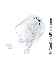 Glass with ice on white background