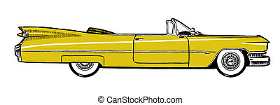 Yellow Classic Retro Car Isolated - Yellow Classic Retro Car...