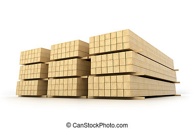 Wooden beams for the building on a white background. 3D...