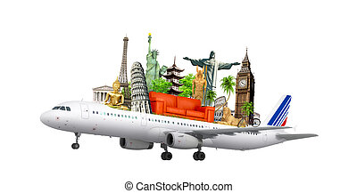 travel the world by airplane, concept, 3d illustration