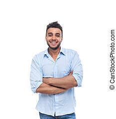 Casual Man Happy Smile Young Handsome Guy Folded Hands -...