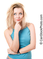 Portrait of a dreamy beautiful blonde. Isolated