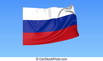 Waving flag of Russia, seamless loop. Exact size, blue...