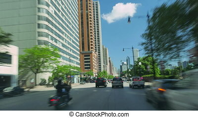 Driving Along the Golden Mile at Michigan Avenue in Chicago....
