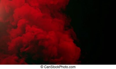 Colored Smoke Curves Isolated on Black Background - 4K Red...