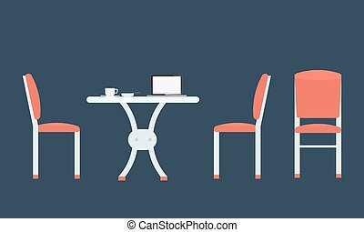Table chairs with front and side view.