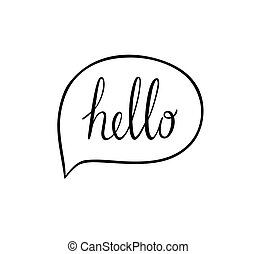 Speech bubbles with hello word, hand drawn vector