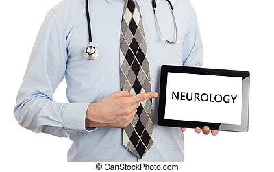 Doctor holding tablet - Neurology - Doctor, isolated on...