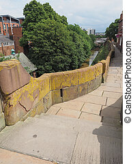 Roman city walls in Chester - Ancient Roman City walls in...
