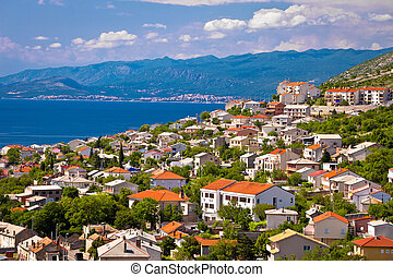 Town of Senj and Novi Vinodolski view, Velebit channel...