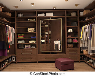 dressing room, interior of a modern house 3d illustration