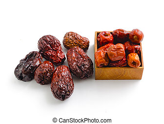 dried Chinese jujube fruits on white background