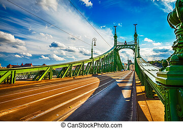 Road at freedom bridge in budapest - Road at freedom bridge...