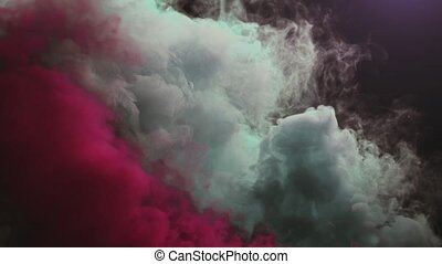 Colored Smoke Curves Isolated on Black Background - 4K...