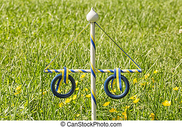 Ornament Maypole in Grass with buttercup flowers.