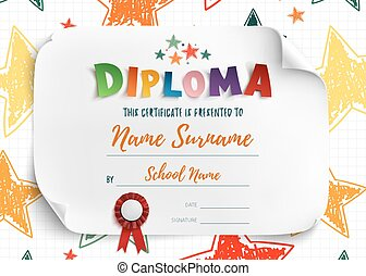 Diploma template for kids.