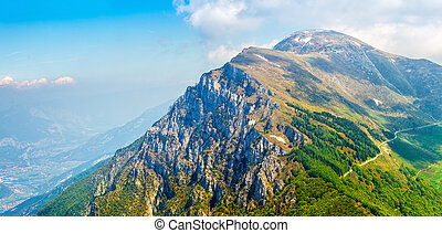 Picturesque view from monte baldo mountain to altissimo -...