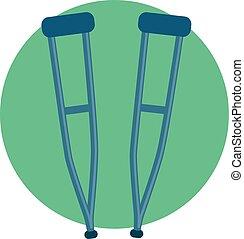 Crutch Icon - Vector Illustration of Crutch Icon