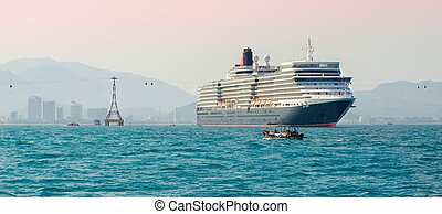 cruise ship - Big cruise ship in port