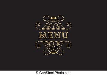 Restaurant Menu Headline on Dark Background Vector Vintage...