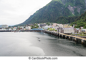 Juneau Alaska from the Sea - Port at Juneau Alaska from the...