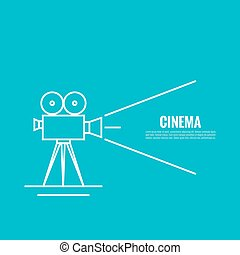 Movie projector vector illustration Cinematic Old camera...