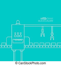 Concept Production line - Thin Line Art Design Linear vector...
