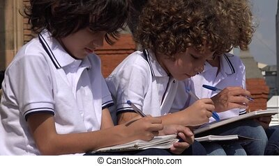 Elementary School Boys Writing